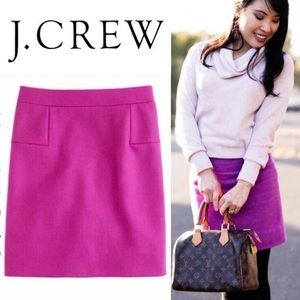 J. CREW Hot Pink Wool Skirt Size 10